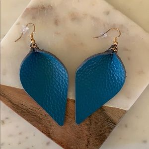 BOGO! Blue Leather Petal Earrings
